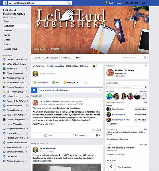 Client Work Examples: Left Hand Publishers Facebook group page design by Metheney Consulting