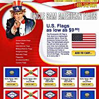 Client Work Examples: Uncle Sam American Flags e-commerce web site